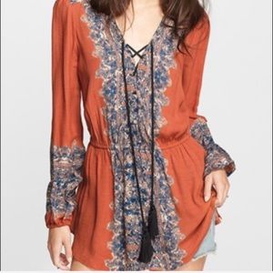Free People   Wildest Moments Tunic Boho Top Med